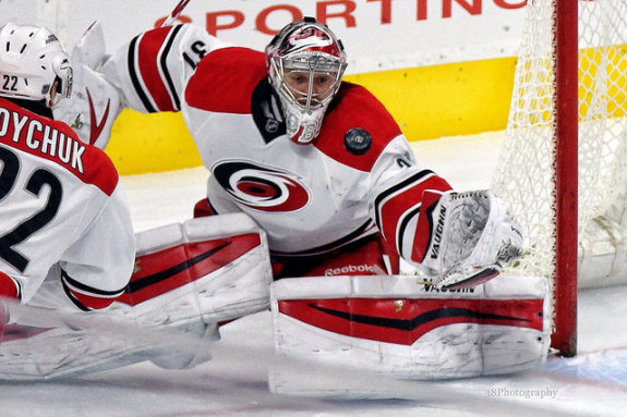 Anton Khudobin has rounded into form as of late while Cam Ward has hit some road bumps, so fantasy managers should definitely keep the back-up in mind. (Amy Irvin / The Hockey Writers)