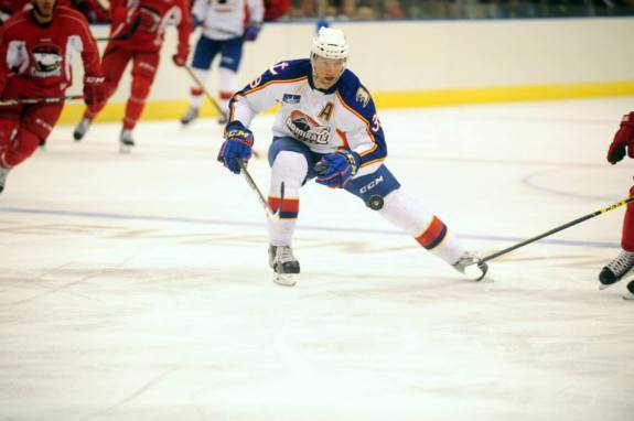 Steckel Sports An A during a preseason game. Photo Credit: (John Wright/Norfolk Admirals)