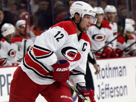 Hurricanes captain Eric Staal could prove to be a tough re-signing by Carolina (Amy Irvin / The Hockey Writers)