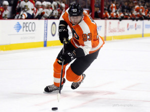 Voracek leads the league with 58 points in 50 games. (Amy Irvin / The Hockey Writers)