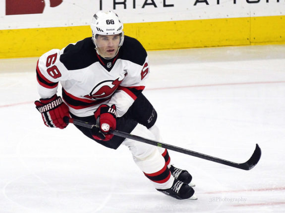 Jaromir Jagr playing for the New Jersey Devils.