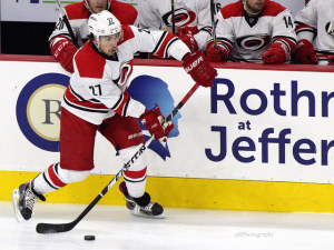 Justin Faulk leads the Hurricanes with 17 points in 30 games this season. (Amy Irvin / The Hockey Writers)
