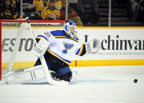 Martin Brodeur with the Blues