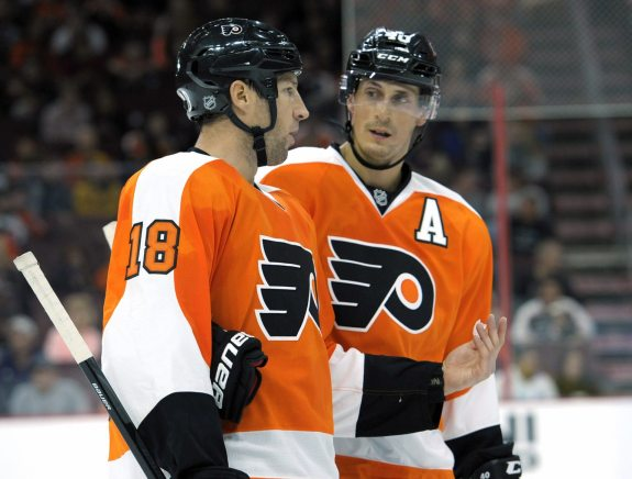 Measuring Umberger and Lecavalier: Only Claude Giroux (not pictured) carries a higher cap hit than R.J. Umberger and Vinny Lecavalier among Flyers forwards.