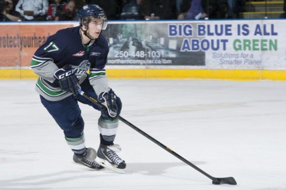 (Photo by Marissa Baecker/Shoot the Breeze) Shea Theodore of the Seattle Thunderbirds has been named the Western Conference's nominee for the Bill Hunter Memorial Trophy as the WHL's defenceman of the year.