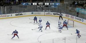 Umbrella setup on the powerplay goal by Martin St. Louis 12/1/14