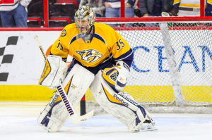 Pekka Rinne leads the NHL in wins and goals against average this season. (Photo Credit: Andy Martin Jr)