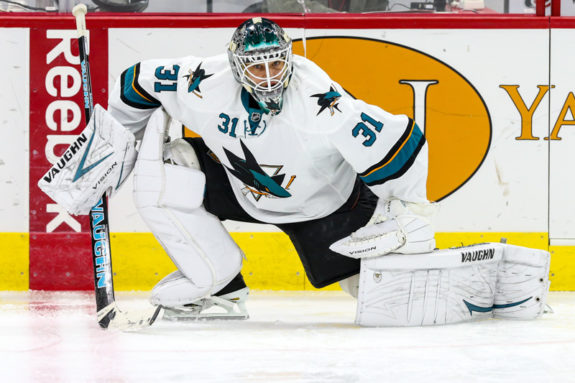 San Jose Sharks goalie Antti Niemi can't save the Sharks ' sinking ship (Photo Credit: Andy Martin Jr).