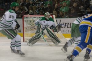 UND goalie Cam Johnson against LSSU (Peter Bottini, UND Athletics