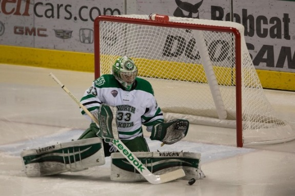 UND Goalie Cam Johnson, (Peter Bottini, UND Athletics)