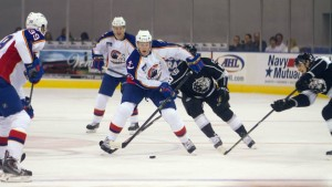 Manson weaves around traffic. Photo Credit: (Aleks Abad/Norfolk Admirals)