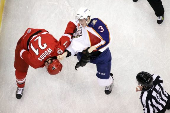 Manson's tilt against Brendan Woods on Jan 21st. Photo Credit: (John Malkowski/Norfolk Admirals)