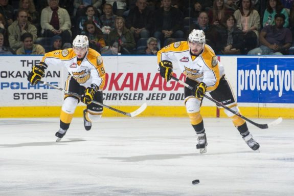 (Marissa Baecker/www.shootthebreeze.ca) Ivan Provorov, left, and Ryan Pilon of the Brandon Wheat Kings will stick together for the CHL Top Prospects Game, anchoring the blue-line for Team Orr.