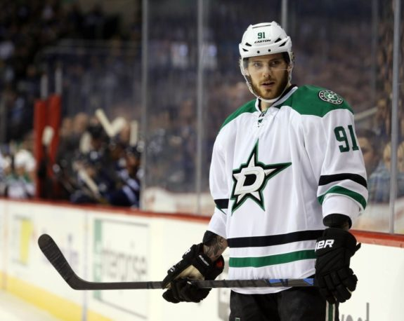 Tyler Seguin waits for puck drop