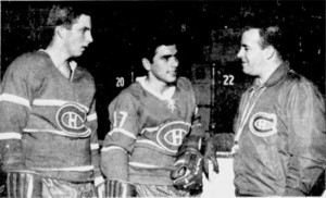 Larry Pleau, left, and coach Scotty Bowman welcome Mexican Chaco Roberts