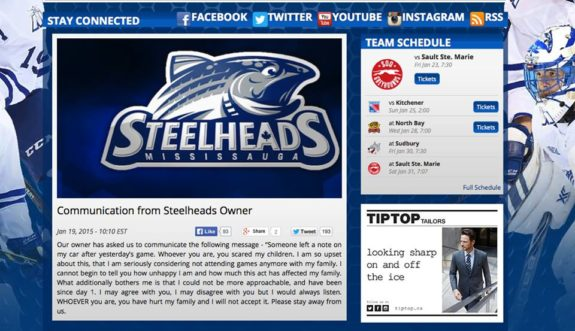 Mississauga Steelheads owner Elliott Kerr issued this statement following an anonymous note left on his car.