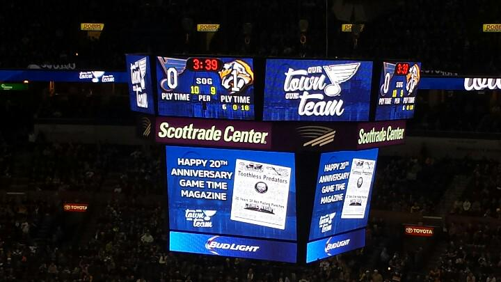 The Blues' message to Game Time on the scoreboard (Courtesy Dan Doke / St. Louis Game Time)