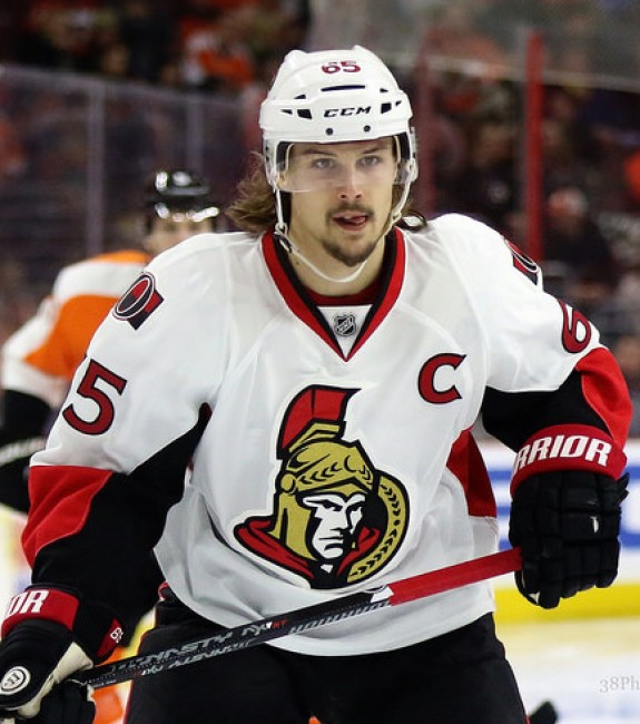 (Amy Irvin/The Hockey Writers) Erik Karlsson is a gamebreaker, not only for the Ottawa Senators but for fantasy teams too — especially in leagues with separate scoring categories for defencemen. In those leagues, he might be the most valuable player. This trade is sure to trigger mixed opinions, but I'd personally stick with Karlsson and Taylor Hall if I was Kris.