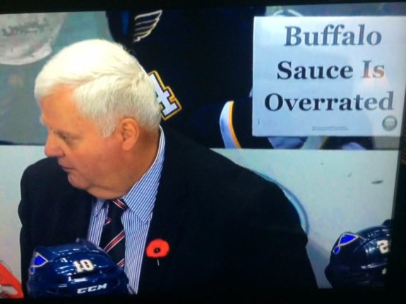 A Game Time sign was featured on the Blues' broadcast (Courtesy Brad Lee / St. Louis Game Time)