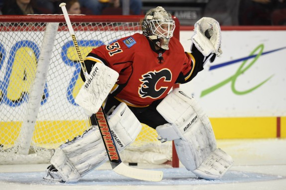 Kari Ramo has 10 of the Flames' 33 wins this season. (Candice Ward-USA TODAY Sports)