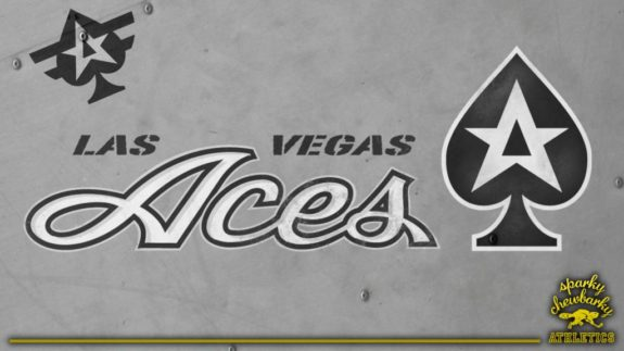 Las Vegas Aces secondary logo concept on light surface [photo: sparky chewbarky]