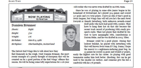 Game Time breaks down Damien Brunner in Lee's first edition in January 2013 (Courtesy Brad Lee / St. Louis Game Time)