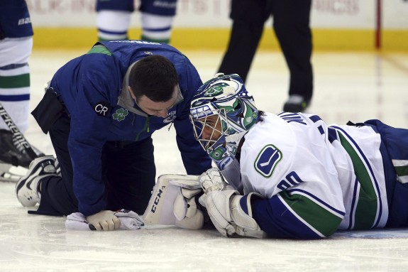 The Canucks face a challenge in the upcoming month after losing Ryan Miller to injury. (Brad Penner-USA TODAY Sports)