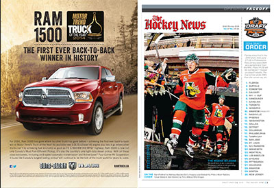 Here's a Dodge truck ad featured on the inside cover of The Hockey News