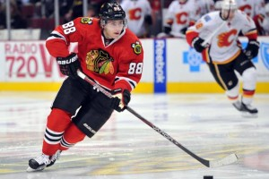 Patrick Kane scored 64 points in 61 games during the regular season (Rob Grabowski, USA TODAY Sports)