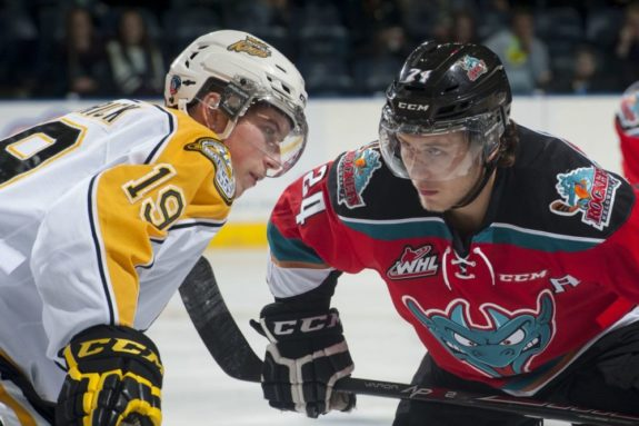 (Marissa Baecker/www.shootthebreeze.ca) Nolan Patrick of the Brandon Wheat Kings, left, faces off against Tyson Baillie of the Kelowna Rockets during WHL regular-season action in Kelowna on Oct. 25. The Rockets won 6-1 in the only meeting to date between the two teams, but the Wheat Kings will host Game 1 of the WHL championship series in Brandon tonight.