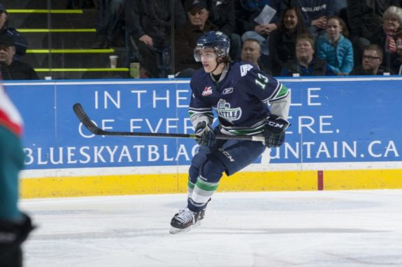 (Marissa Baecker/Shoot the Breeze) Mathew Barzal of the Seattle Thunderbirds entered the season as the WHL's top-ranked prospect for the 2015 NHL Entry Draft. His stock has fallen a bit because of injuries, but a strong playoff showing could restore him as a potential top-10 pick.