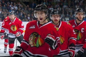 (Marissa Baecker/www.shootthebreeze.ca) Oliver Bjorkstand of the Portland Winterhawks, front, seen here celebrating a goal during last year's Western Conference final against the Kelowna Rockets, had plenty more reasons to celebrate this season — 118 reasons to be precise, as the Danish star led the WHL in regular-season scoring.