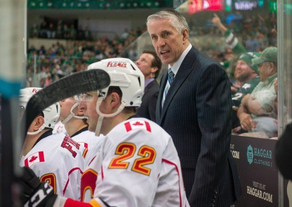 Bob Hartley and his Calgary Flames have a commanding 3-1 series lead over the Canucks after winning game four at the Saddledome. (Jerome Miron-USA TODAY Sports)