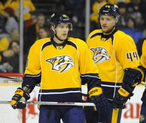 Mike Santorelli and Cody Franson (Christopher Hanewinckel-USA TODAY Sports)