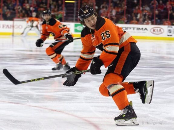 "Flyers GM Ron Hextall created cap space breathing room, while re-signing pieces such as Ryan White (above). (<a href=""https://www.facebook.com/38Photography"">Amy Irvin</a> / The Hockey Writers)"