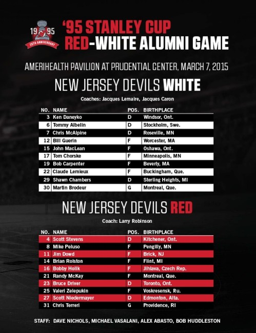 1995 NJ Devils alumni game rosters