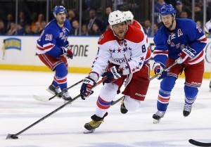 Alex Ovechkin winds up a shot against the New York Rangers (Adam Hunger-USA TODAY Sports)