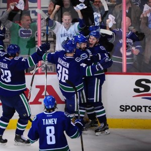 Horvat celebrates his first NHL playoff goal against the Calgary Flames on April 15, 2015. (Anne-Marie Sorvin-USA TODAY Sports)