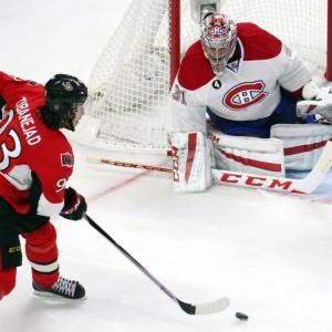 Ottawa Senators forward Mika Zibanejad and Montreal Canadiens goalie Carey Price