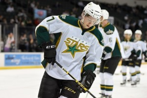 Cole Ully scored twice in a 3-1 win over Minnesota at the NHL Prospect Tournament. (Michael Connell/Texas Stars Hockey)