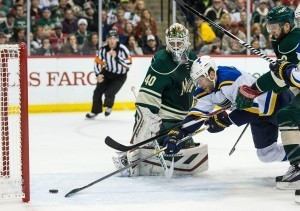 Devan Dubnyk helped Minnesota eliminate the St. Louis Blues from Round 1 in six games. (Brace Hemmelgarn-USA TODAY Sports)