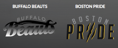 NWHL: Featured are the Buffalo Beauts and Boston Pride logos