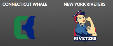 NWHL logos: featured are the Connecticut Whale and the New York Riveters