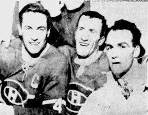 Montreal goal-getters Beliveau, Provost, Henri Richard.