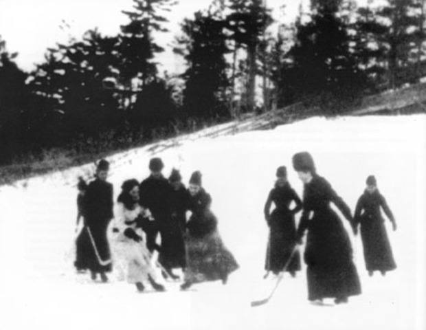 Lady Isobel Gathorne-Hardy was captured playing a game of shinny in the earliest photo known of women playing hockey. Photo from Library and Archives Canada.