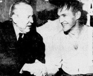Prime Minister Lester B. Pearson congratulates Charley Hodge.