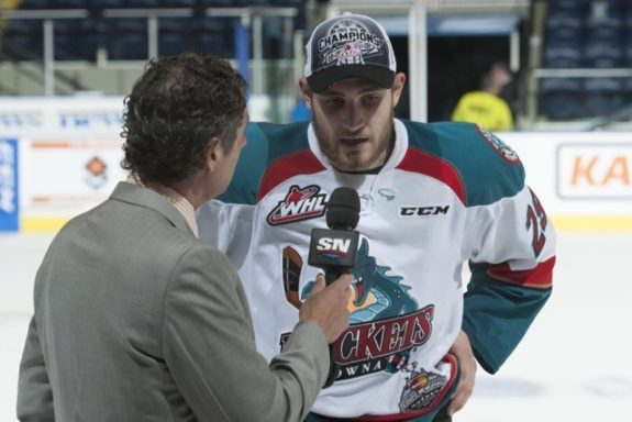 (Marissa Baecker/Shoot The Breeze) Kelowna Rockets forward Leon Draisaitl is interviewed by Sportsnet's Gene Principe after being named the WHL's playoff MVP.