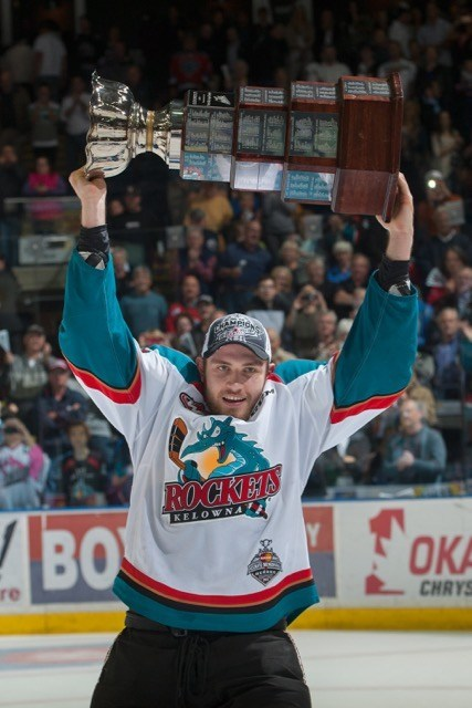 (Marissa Baecker/Shoot The Breeze) Leon Draisaitl lifts the Ed Chynoweth Cup over his head in celebration of winning the WHL championship with the Kelowna Rockets.