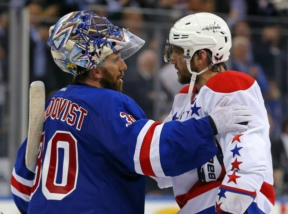 New York Rangers goalie Henrik Lundqvist (30) and Washington Capitals left wing Alex Ovechkin (8) shake hands after game seven of the second round of the 2015 Stanley Cup Playoffs at Madison Square Garden. The Rangers defeated the Capitals 2 - 1 in overtime. (Adam Hunger-USA TODAY Sports)