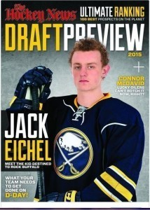 Jack Eichel donning a Sabres jersey on the Cover of The Hockey News